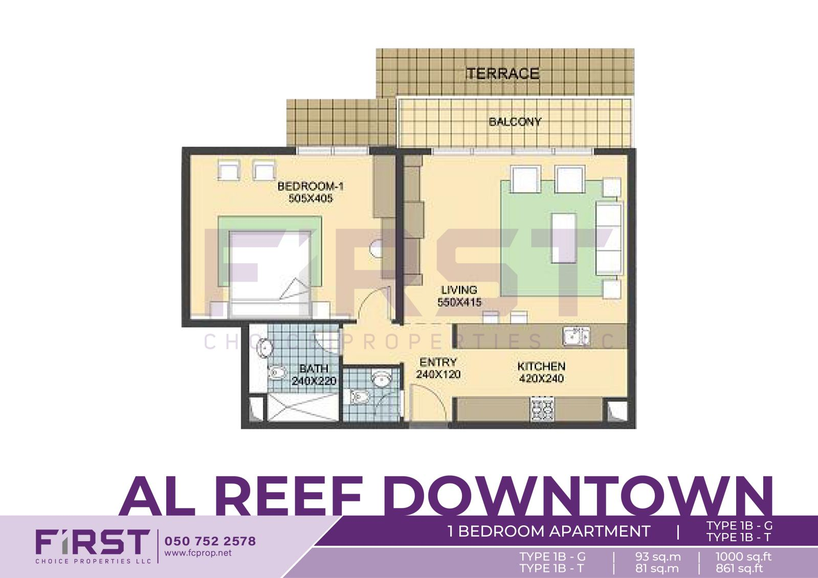 Floor Plan of 1 Bedroom Apartment TYPE 1B-G in Al Reef Downtown Al Reef Abu Dhabi UAE 93 sq.m 1000 sq.ft T  81 sq.m - 861 sq.ft.jpg