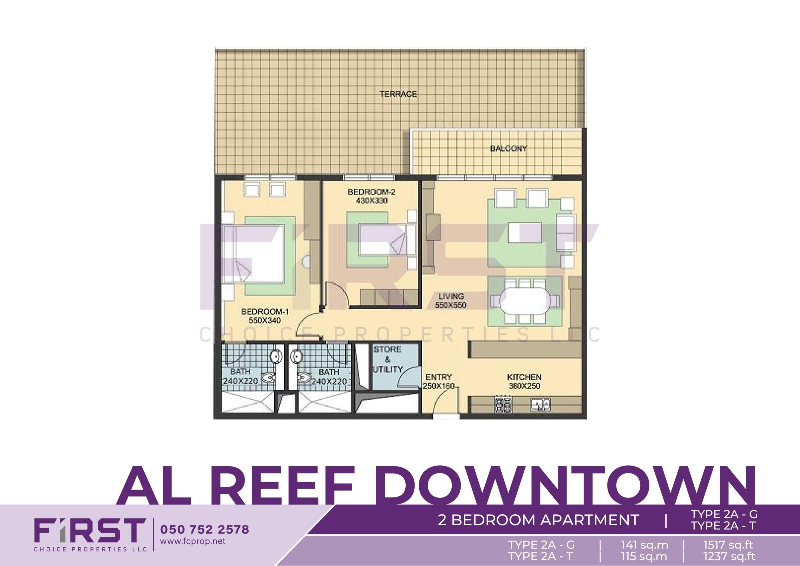 Floor Plan of 2 Bedroom Apartment TYPE 2A-G in Al Reef Downtown Al Reef Abu Dhabi UAE 141 sq.m 1517 sq.ft T 115 sq.m 1237 sq.ft.jpg