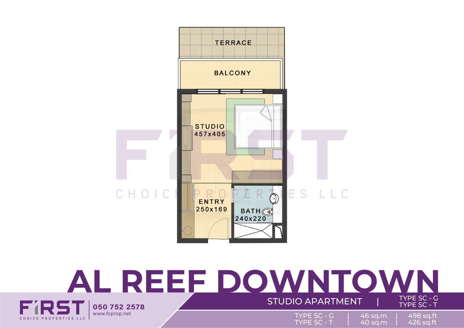 Floor Plan of Studio Apartment TYPE SC-G in Al Reef Downtown Al Reef Abu Dhabi UAE 46 sq.m 498 sq.ft T 40 sq.m 426 sq.ft.jpg