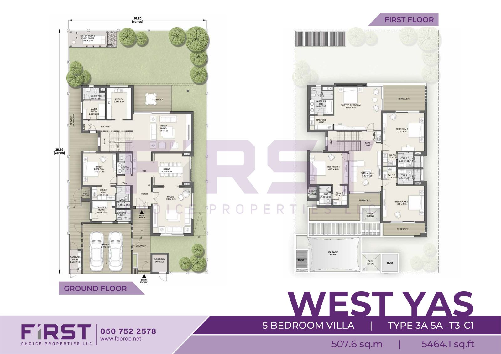 Floor Plan of 5 Bedroom VIlla TYPE 3A 5A-T3-C1 in West Yas Yas Island Abu Dhabi UAE 507.6 sq.m 5464.1 sq.ft.jpg