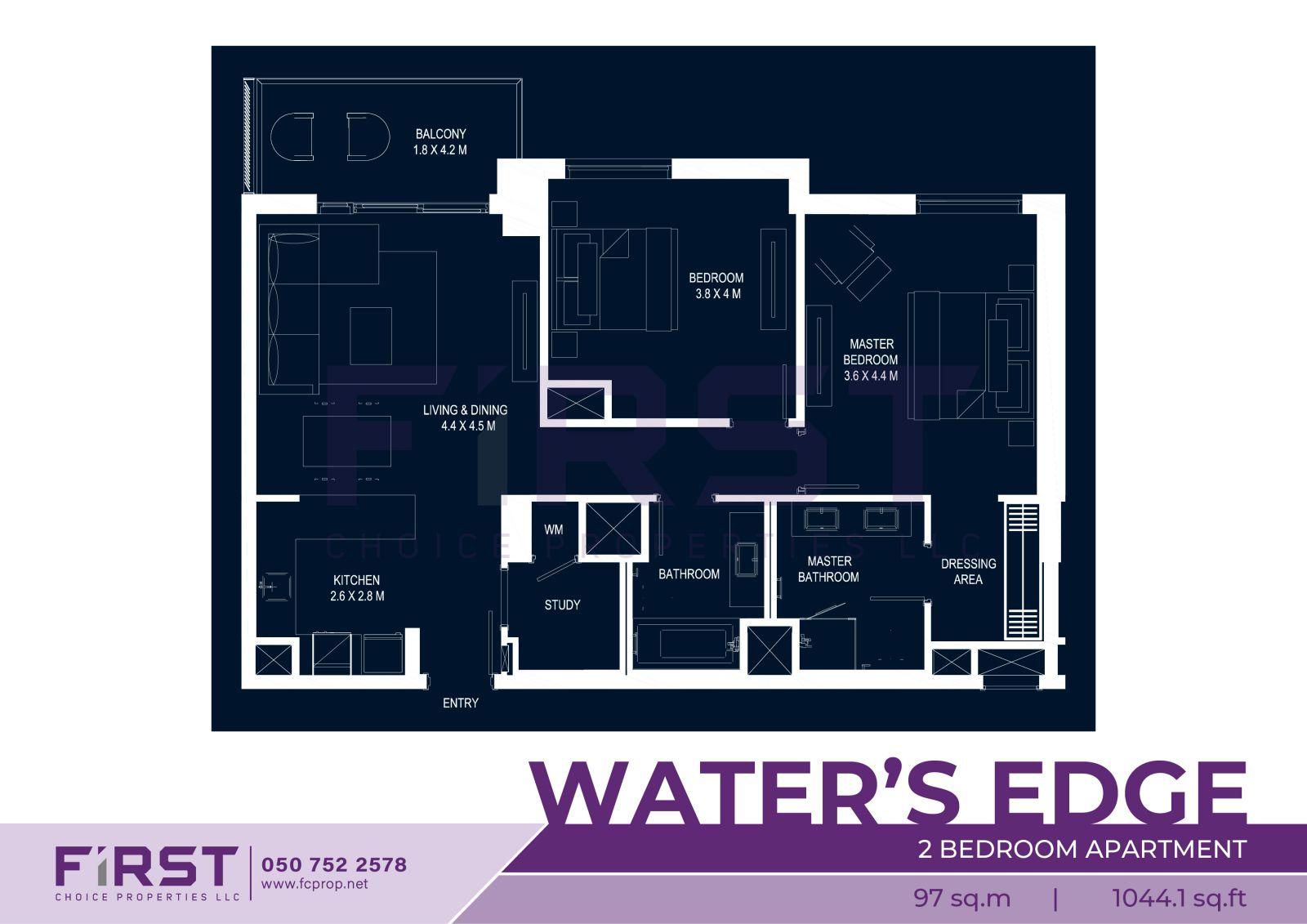 Yas Island Water's Edge 2 Bedroom 97 sq.m 1044.1 sq.ft .jpg