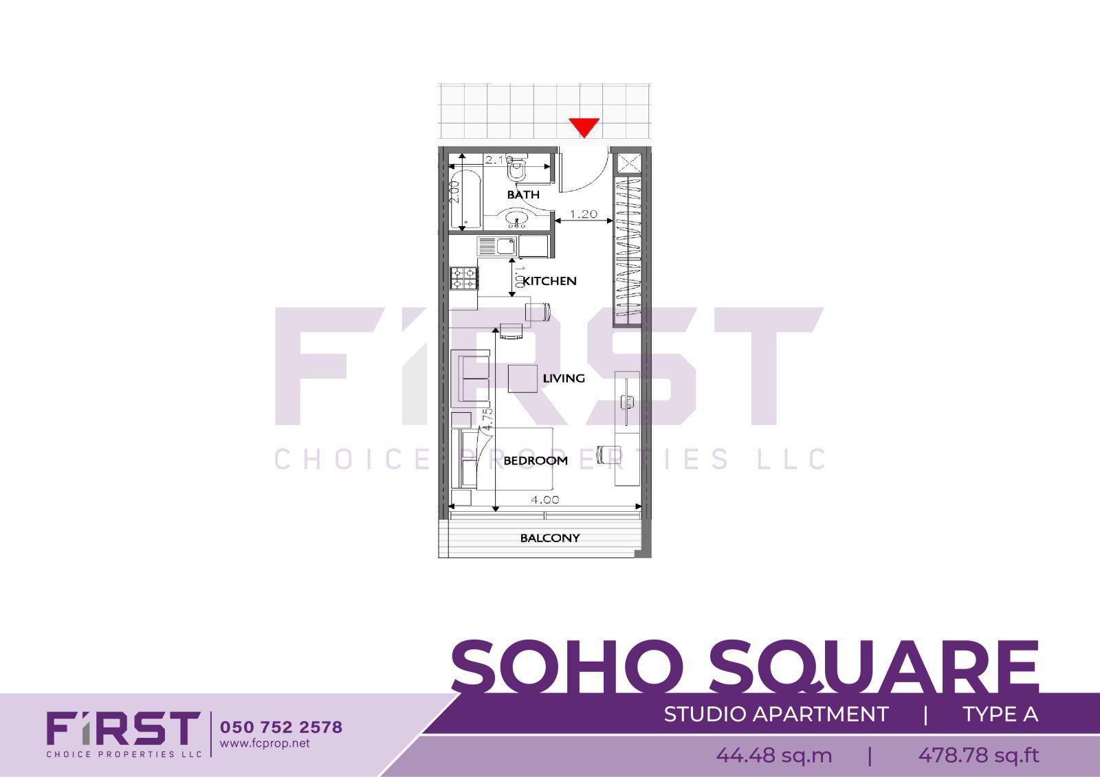 Floor Plan of Studio Apartment Type A in Soho Square Saadiyat Island Abu Dhabi UAE 44.48 sq.m 478.78 sq.ft.jpg