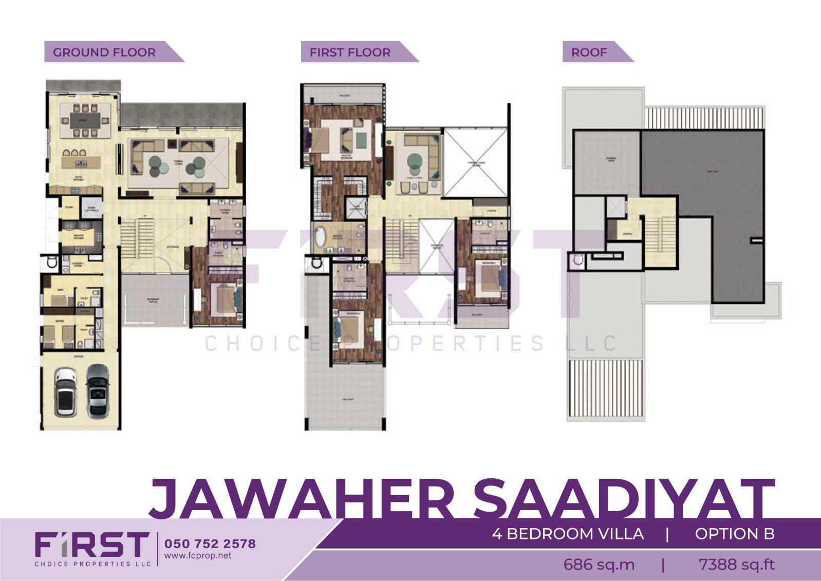 Floor Plan of 4 Bedroom Villa Option B in Jawaher Saadiyat Saadiyat Island Abu Dhabi UAE 686 sq.m 7388 sq.ft.jpg