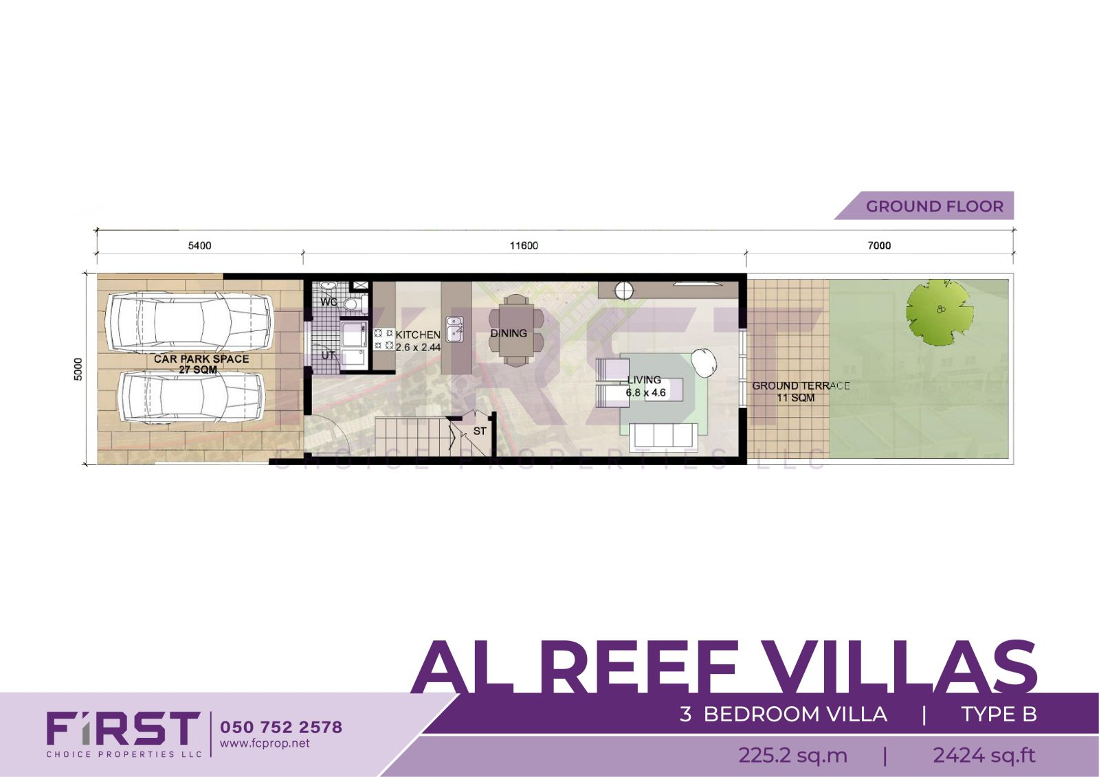 Floor Plan of 3 Bedroom Villa Type B in Al Reef Villas Al Reef Abu Dhabi UAE 225.2 sq.m 2424 sq.ft 2.jpg