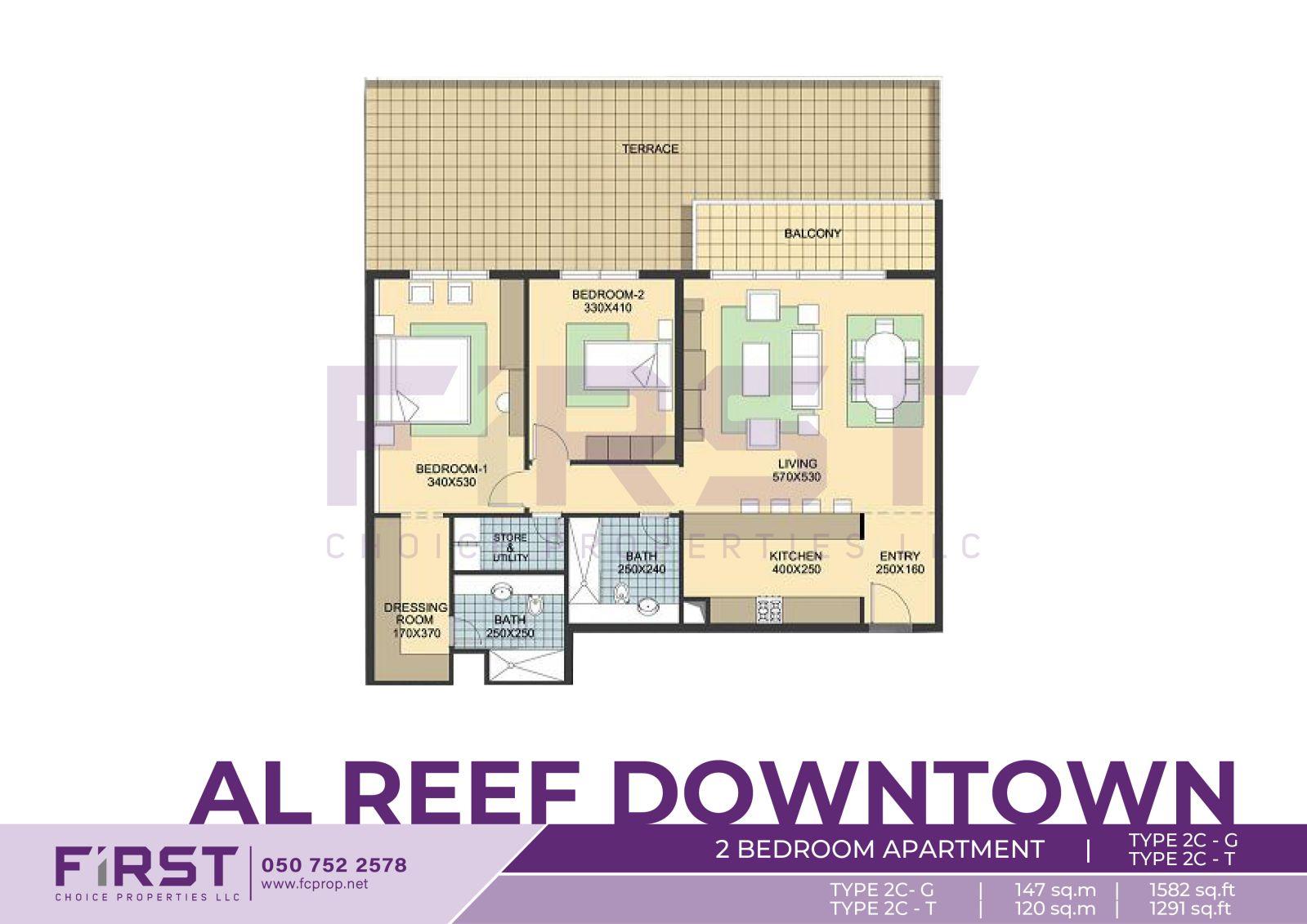 Floor Plan of 2 Bedroom Apartment TYPE 2C-G in Al Reef Downtown Al Reef Abu Dhabi UAE 147 sq.m - 1582 sq.ft T 120sq.m - 1291 sq.ft.jpg
