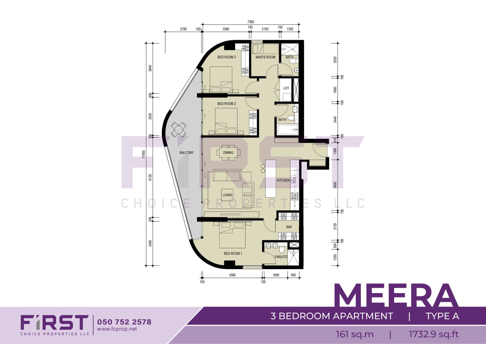 Floor Plan of 3 Bedroom Apartment Type A in Meera Shams Al Reem Island Abu Dhabi UAE 161 sq.m 1732.9 sq.ft.jpg