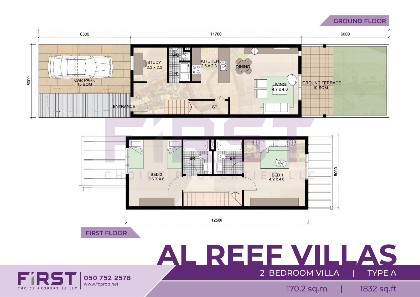 Floor Plan of 2 Bedroom Villa Type A in Al Reef Villas Al Reef Abu Dhabi UAE 170.2 sq.m 1832 sq.ft.jpg