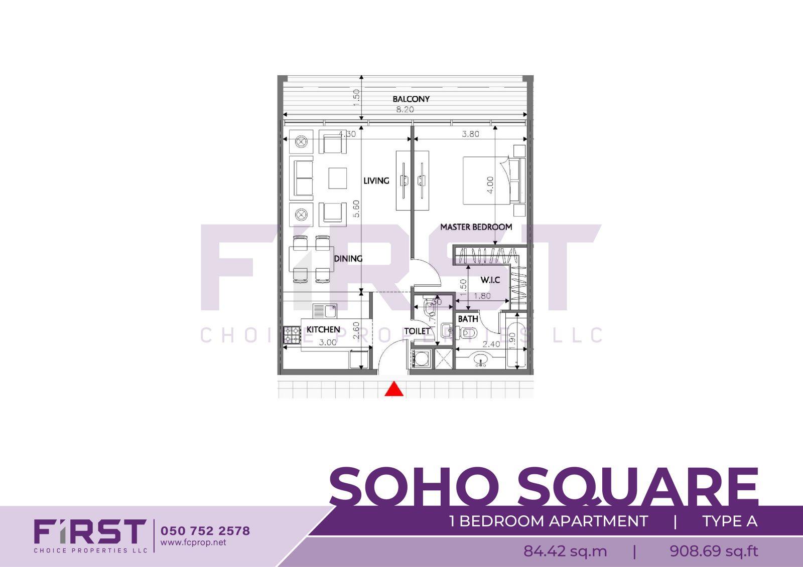 Floor Plan of 1 Bedroom Apartment Type A in Soho Square Saadiyat Island Abu Dhabi UAE 84.42 sq.m 908.69 sq.ft .jpg