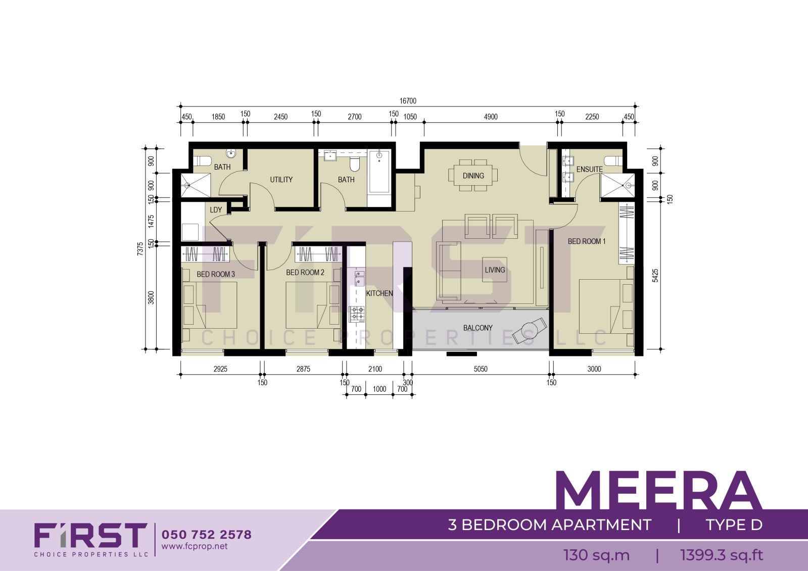 Floor Plan of 3 Bedroom Apartment Type D in Meera Shams Al Reem Island Abu Dhabi UAE 130 sq.m 1399.3 sq.ft.jpg