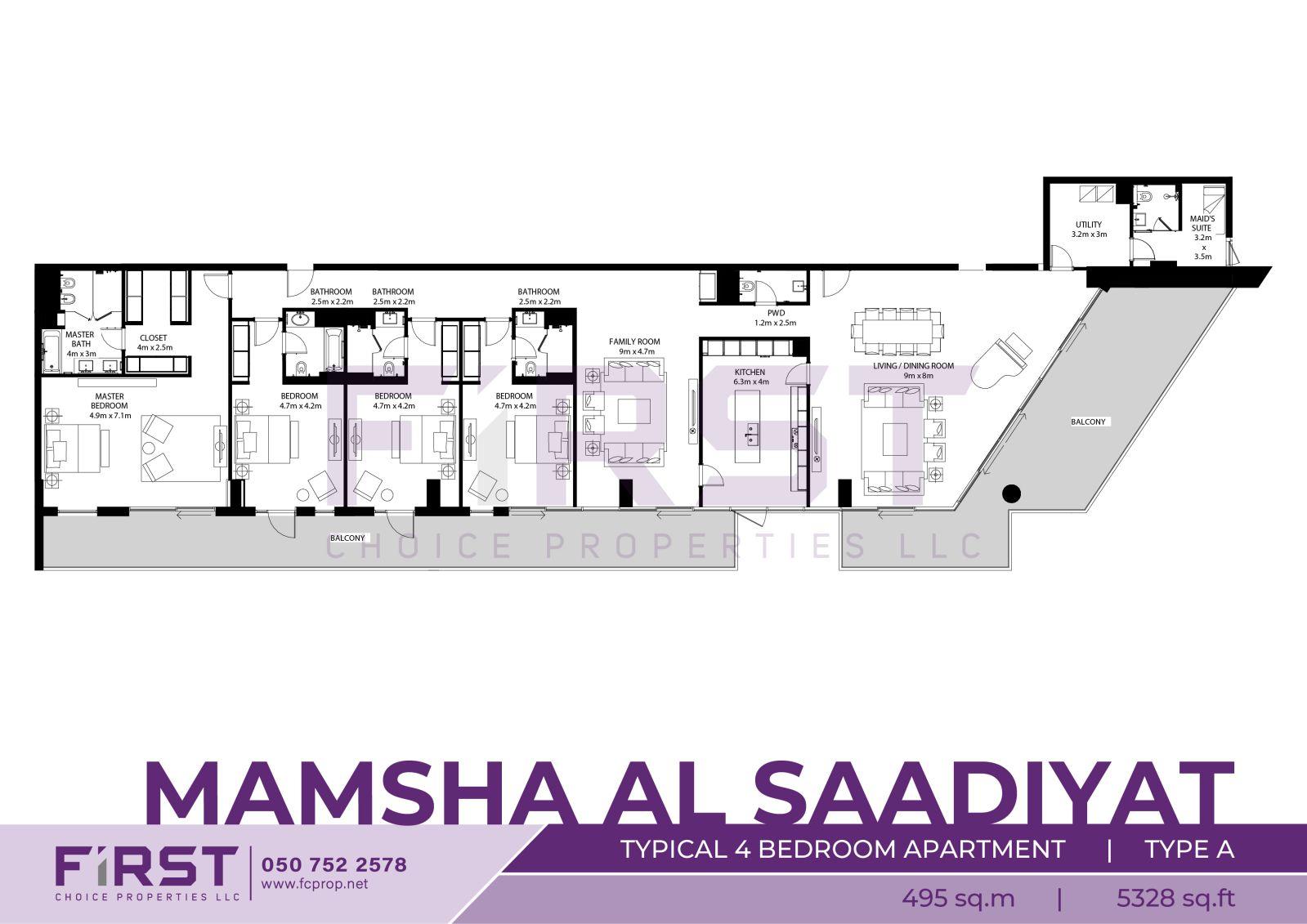 Floor Plan of Typical 4 Bedroom Apartment Type A in Mamsha Al Saadiyat Abu Dhabi UAE 495  sq.m 5328 sq.ft.jpg