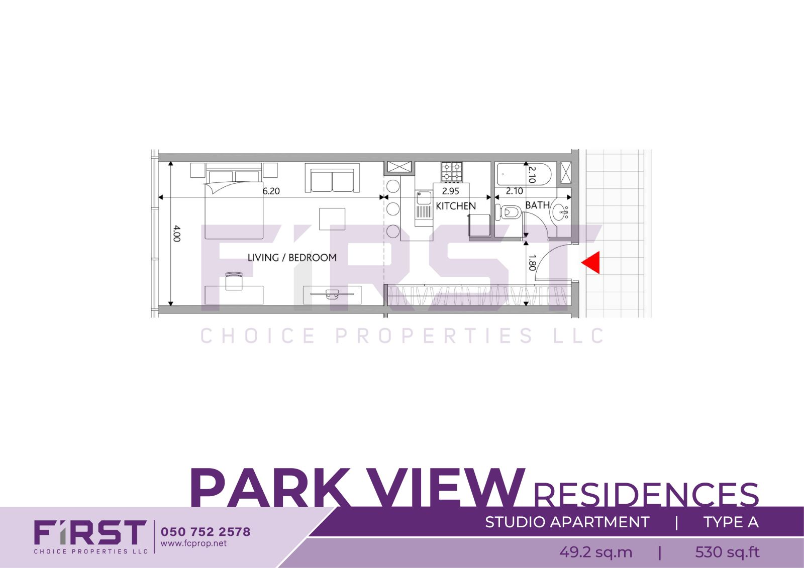 Floor Plan of Studio Apartment Type A in Park View Residences Saadiyat Island Abu Dhabi UAE 49.2 sq.m 530 sq.ft.jpg