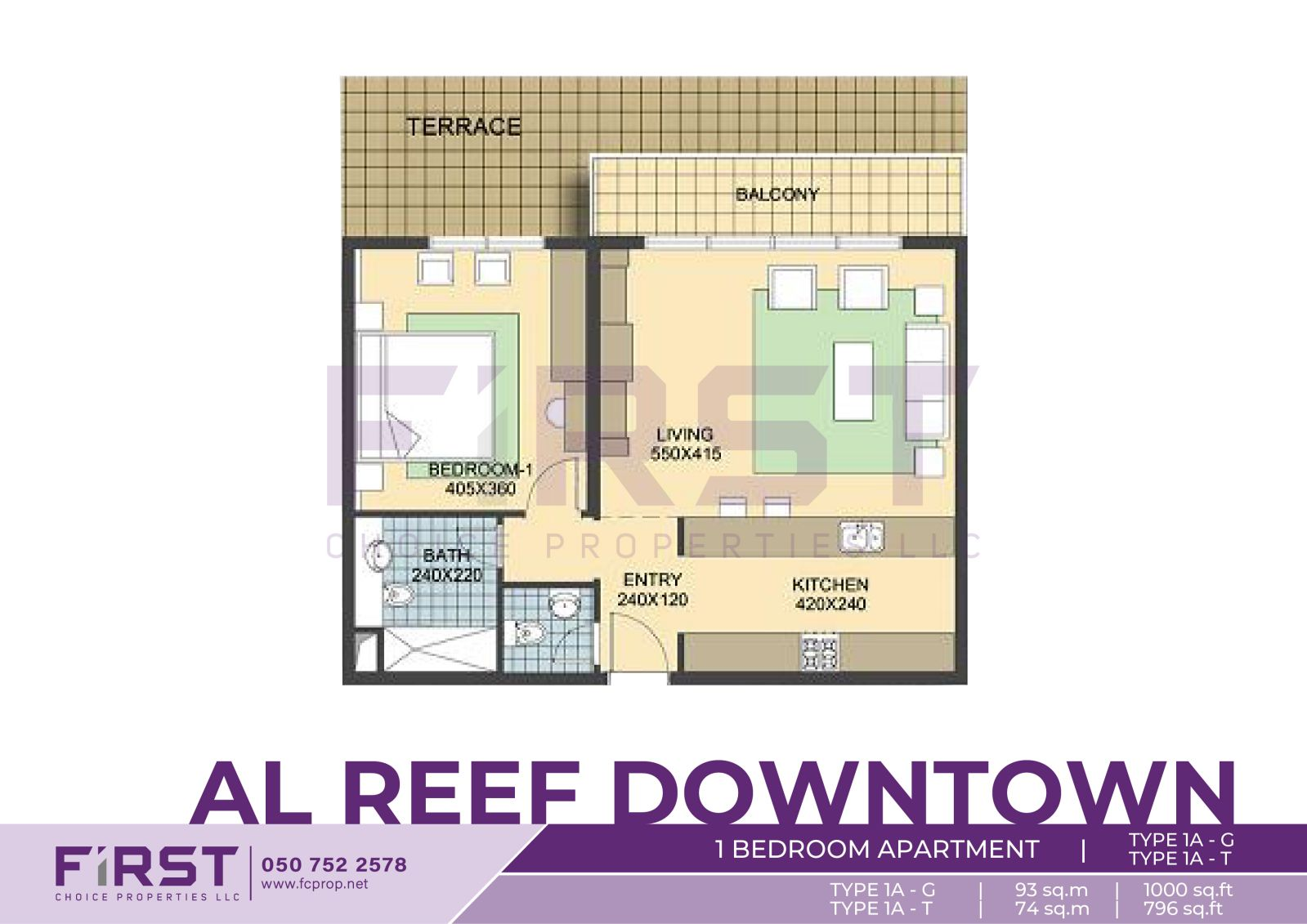 Floor Plan of 1 Bedroom Apartment TYPE 1A-G 93 sq.m in Al Reef Downtown Al Reef Abu Dhabi UAE 1000 sq.ft T 74 sq.m 796 sq.ft.jpg