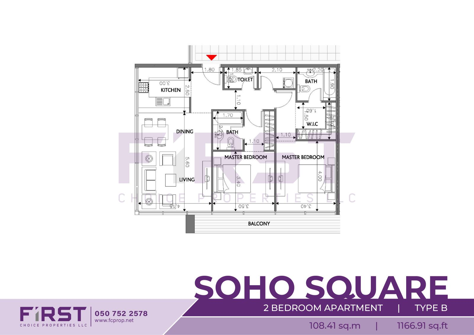 Floor Plan of 2 Bedroom Apartment Type B in Soho Square Saadiyat Island Abu Dhabi UAE 108.41 sq.m 1166.91 sq.ft .jpg