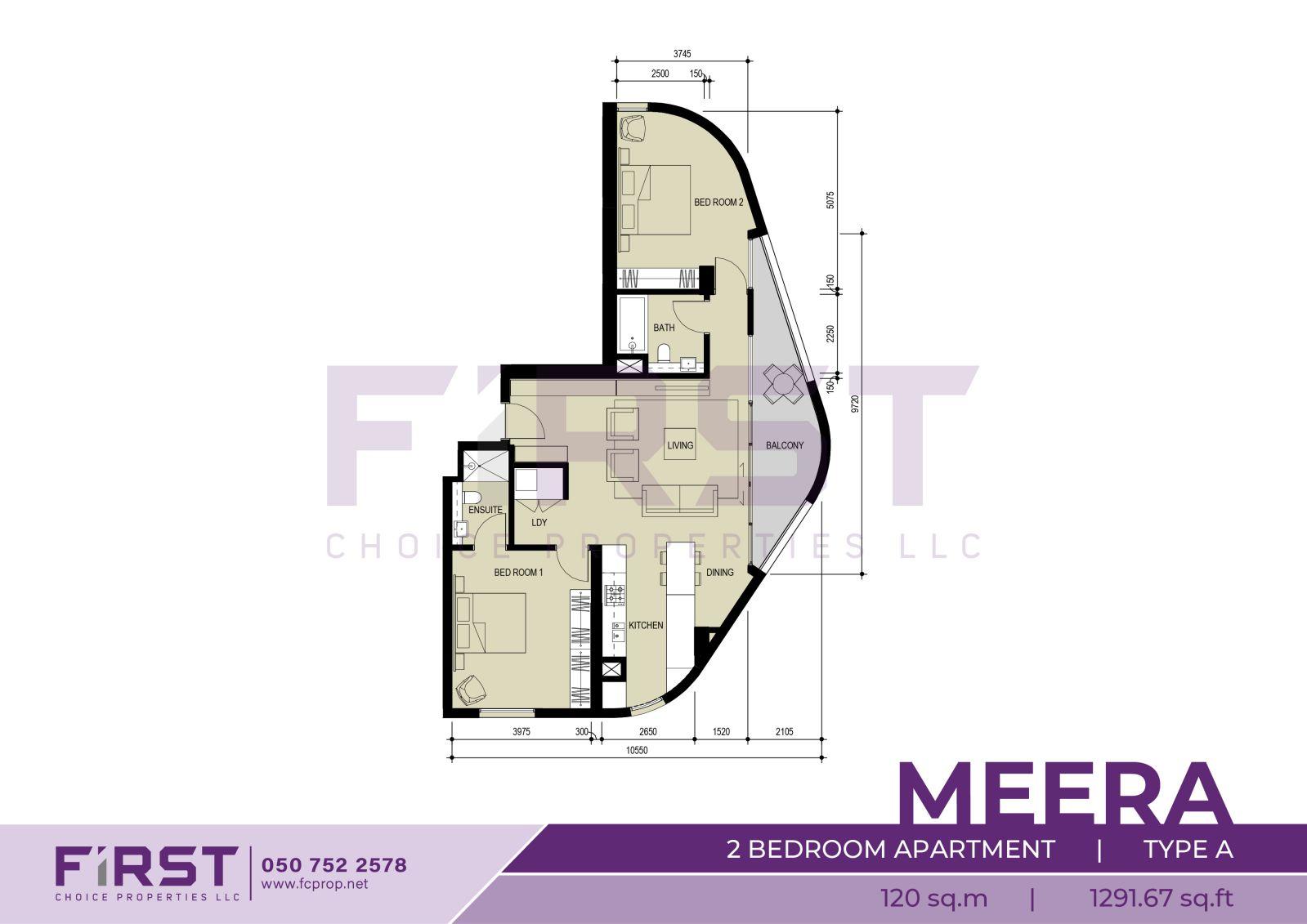 Floor Plan of 2 Bedroom Apartment Type A in Meera Shams Al Reem Island Abu Dhabi UAE 120 sq.m 1291.67 sq.ft.jpg