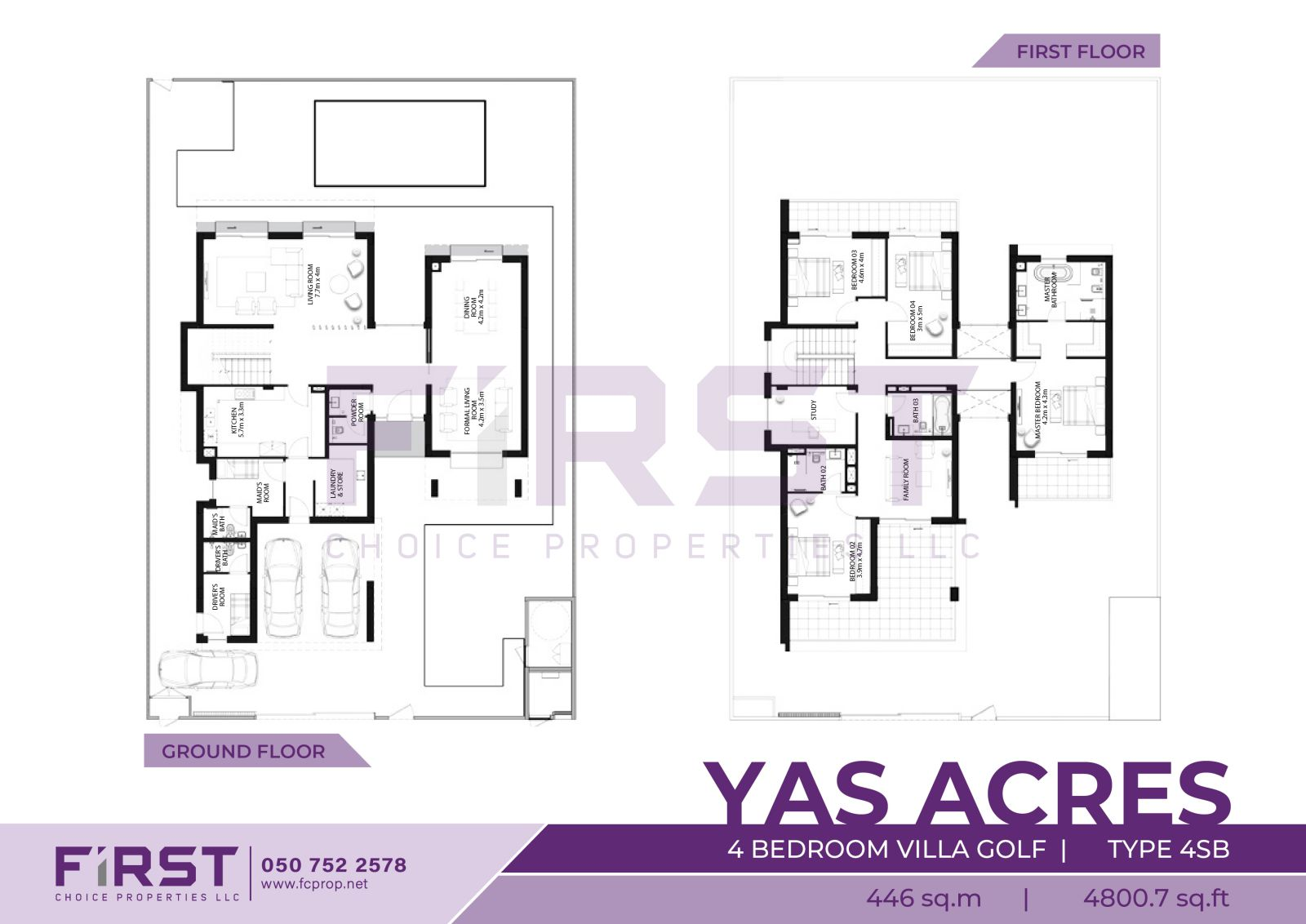 Floor Plan of 4 Bedroom Villa Golf Type 4SB in Yas Acres Yas Island Abu Dhabi UAE 446 sq.m 4800.7 sq.ft.jpg