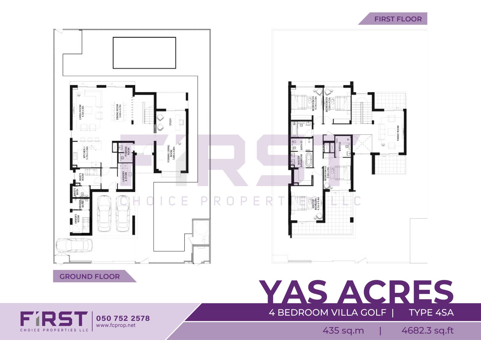 Floor Plan of 4 Bedroom Villz Golf Type 4SA in Yas Acres Yas Island Abu Dhabi UAE 435 sq.m 4682.3 sq.ft.jpg