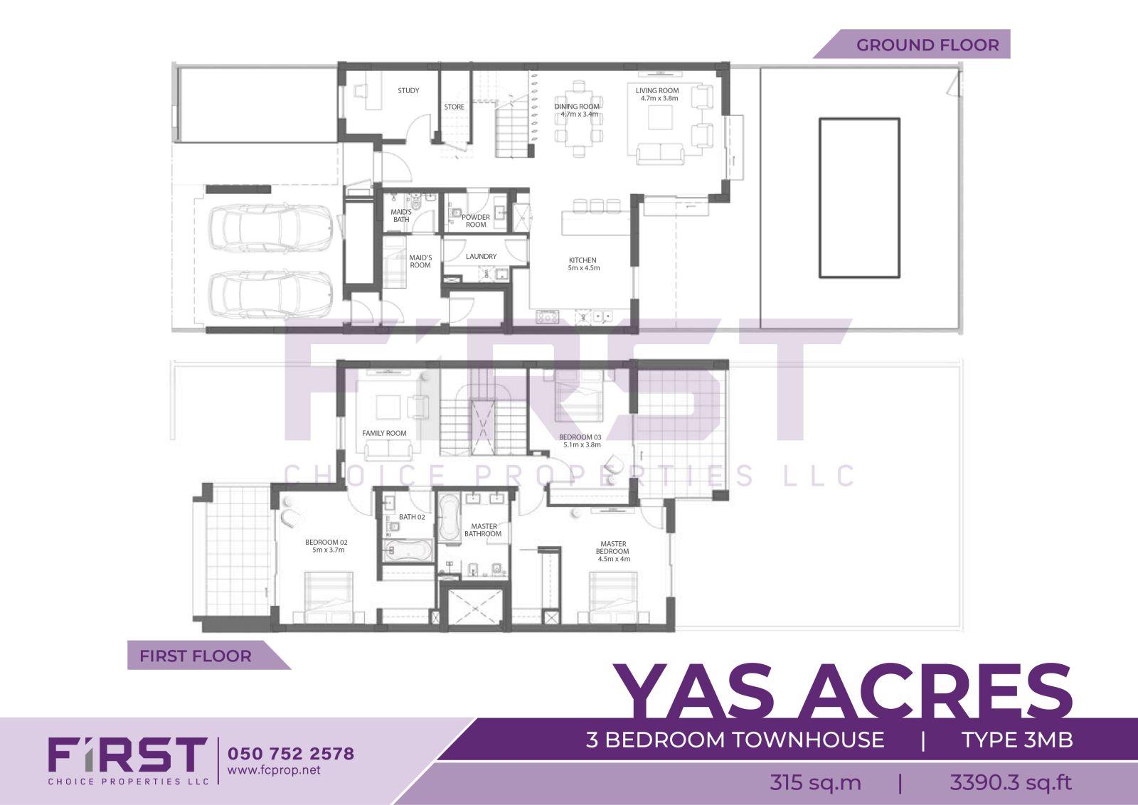 Floor Plan of 3 Bedroom Townhouse Type 3MB in Yas Acres Yas Island Abu Dhabi UAE 315 sq.m 3390.3 sq.ft.jpg