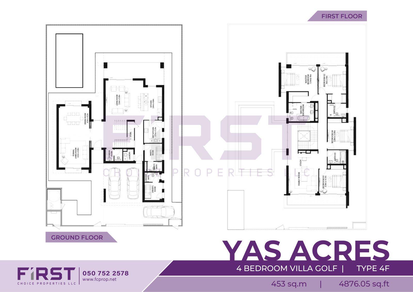 Floor Plan of 4 Bedroom Villa Golf Type 4F in Yas Acres Yas Island Abu Dhabi UAE 453 sq.m 4876.05 sq.ft.jpg