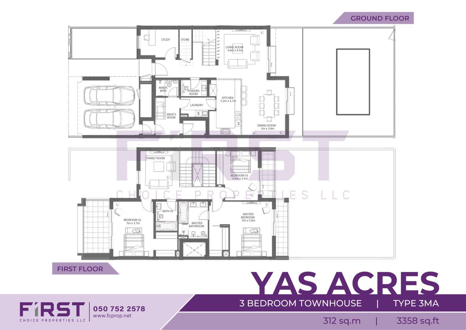 Floor Plan of 3 Bedroom Townhouse Type 3MA in Yas Acres Yas Island Abu Dhabi UAE 312 sq.m 3358 sq.ft.jpg