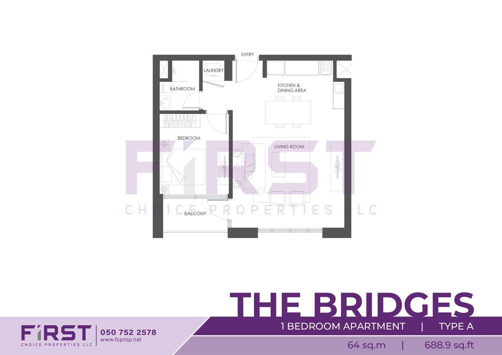 Floor Plan of 1 Bedroom Apartment Type A in The Bridges Al Reem Island Abu Dhabi UAE 64 sq.m 688.9 sq.ft.jpg