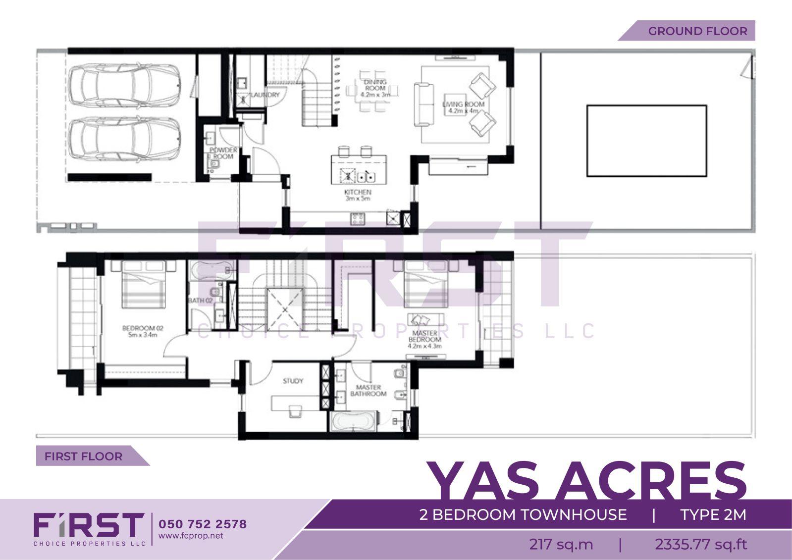 Floor Plan of 2 Bedroom Townhouse Type 2M in Yas Acres Yas Island Abu Dhabi UAE 217 sq.m 2335.77 sq.ft.jpg