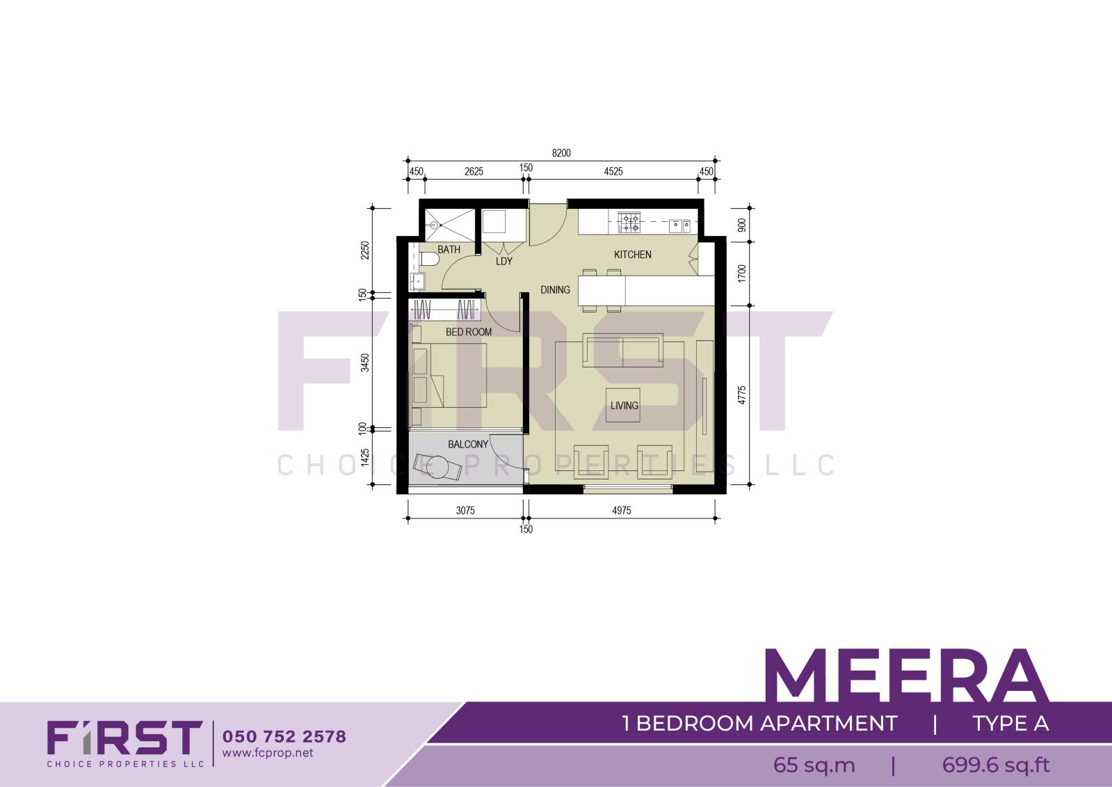 Floor Plan of 1 Bedroom Apartment Type A in Meera Shams Al Reem Island Abu Dhabi UAE 65 sq.m 699.6 sq.ft.jpg