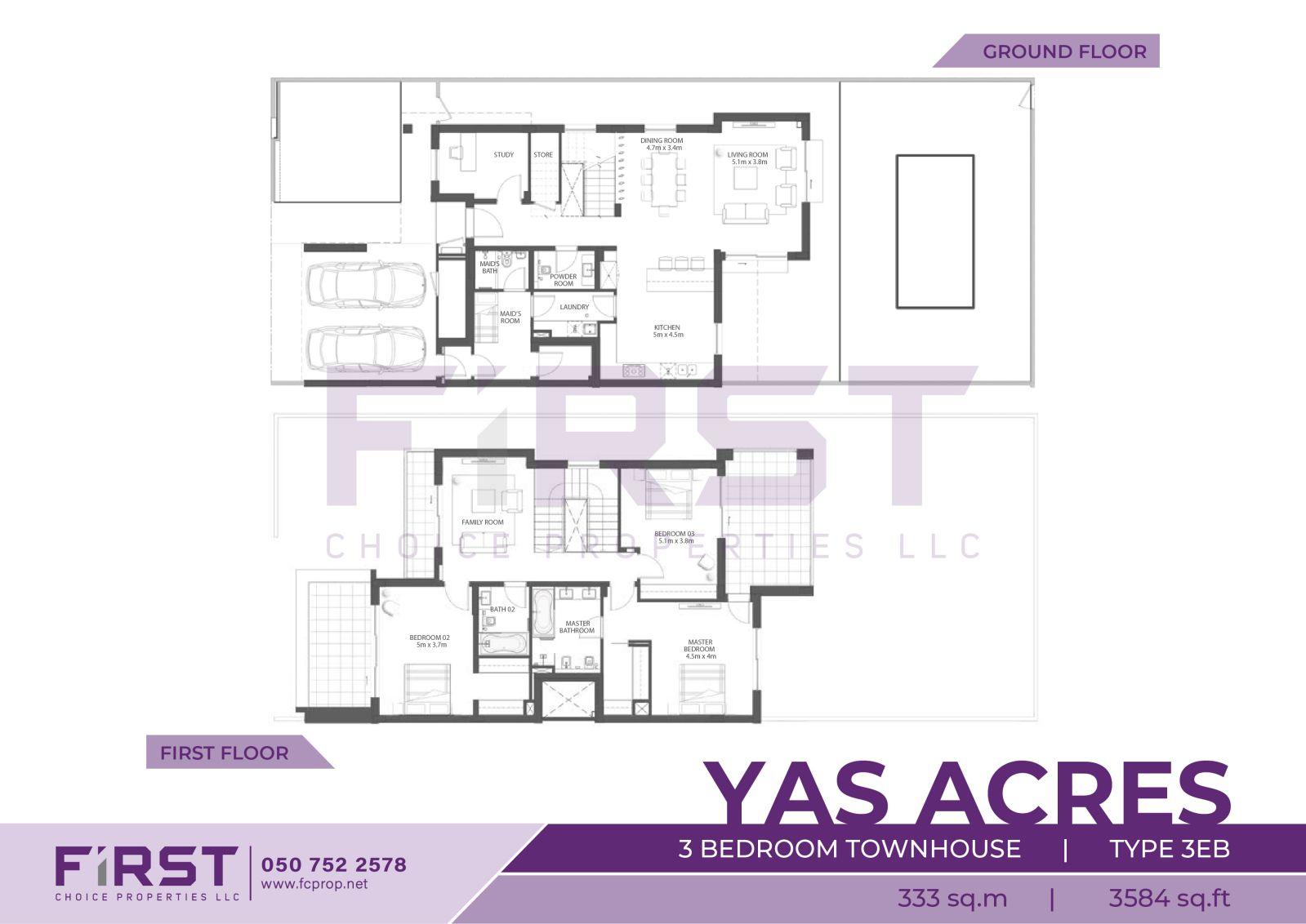 Floor Plan of 3 Bedroom Townhouse Type 3EB in Yas Acres Yas Island Abu Dhabi UAE 333 sq.m 3584 sq.ft .jpg