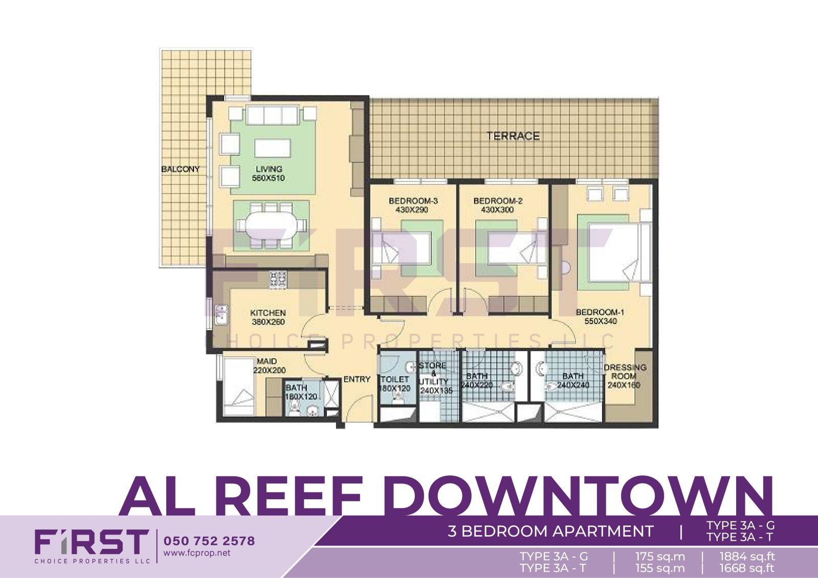 Floor Plan of 3 Bedroom Apartment TYPE 3A-G in Al Reef Downtown Al Reef Abu Dhabi UAE 175 sq.m 1884 sq.ft T 155 sq.m 1668 sq.ft.jpg