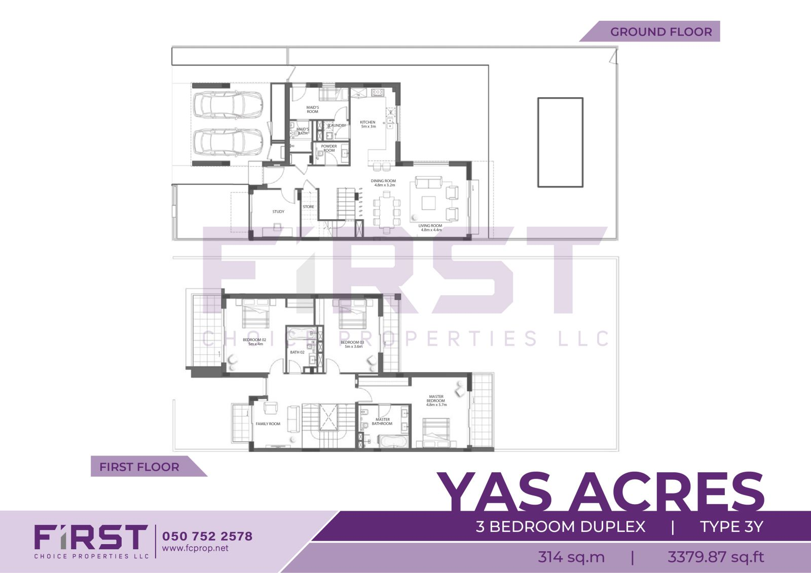 Floor Plan of 3 Bedroom Duplex Type 3Y in Yas Acres Yas Island Abu Dhabi UAE 314 sq.m 3379.87 sq.ft.jpg