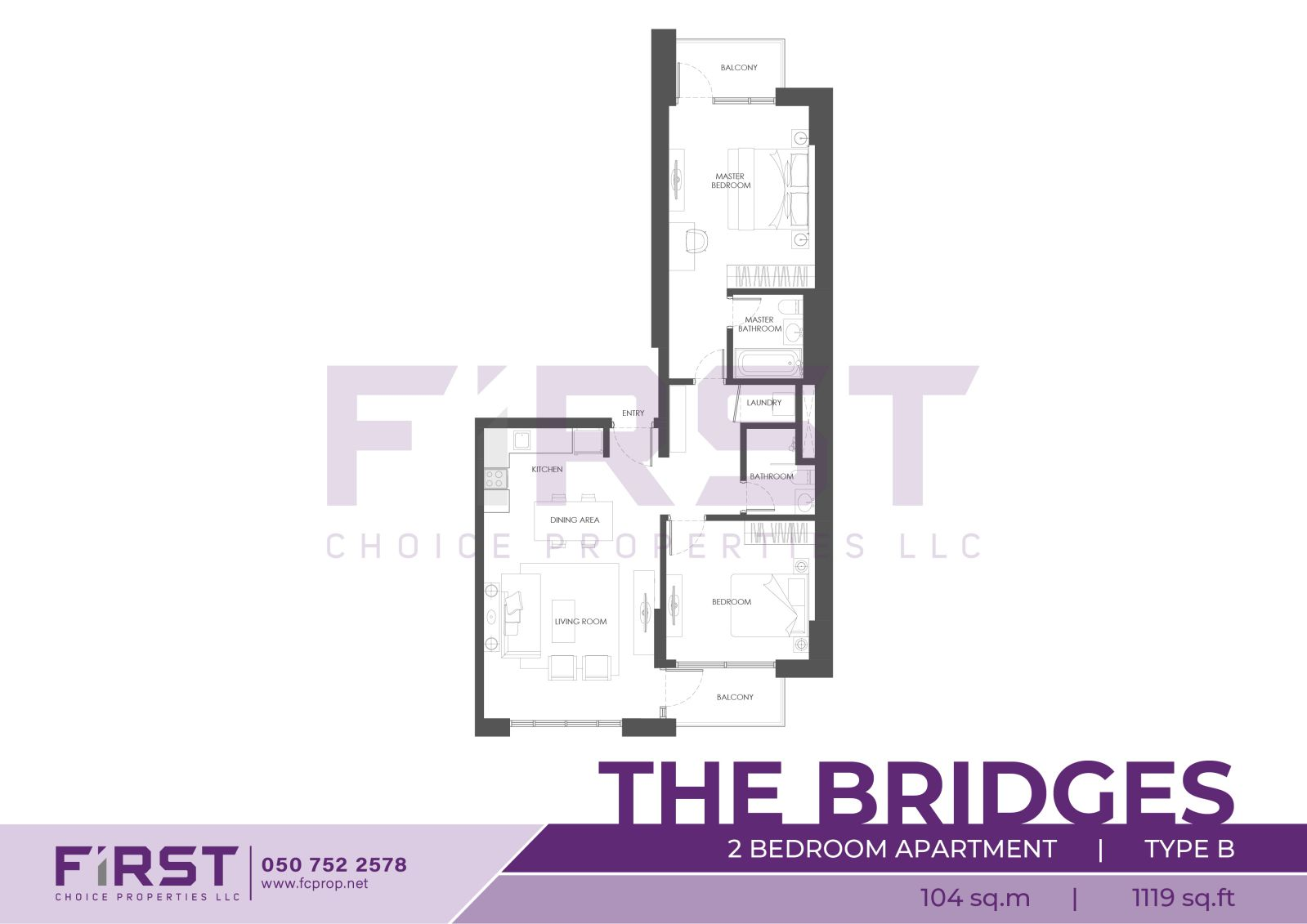 Floor Plan of 2 Bedroom Apartment Type B in The Bridges Al Reem Island Abu Dhabi UAE 104 sq.m 1119 sq.ft.jpg