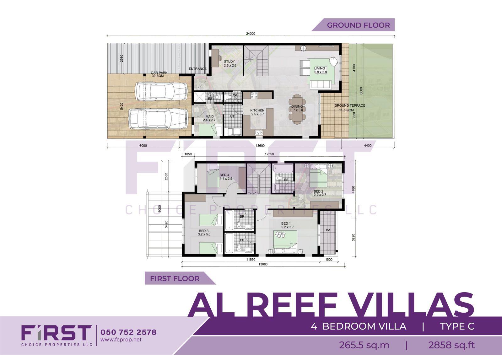 Floor Plan of 4 Bedroom Villa Type C in Al Reef Villas Al Reef Abu Dhabi UAE 265.5 sq.m 2858 sq.ft.jpg