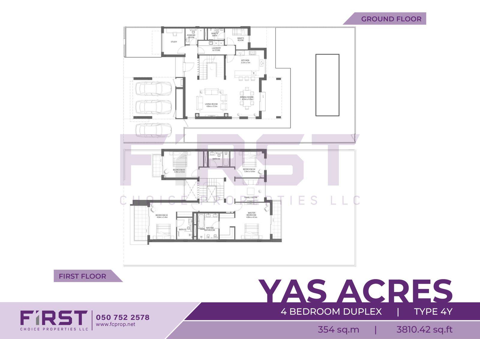 Floor Plan of 4 Bedroom Duplex Type 4Y in Yas Acres Yas Island Abu Dhabi UAE 354 sq.m 3810.42 sq.ft.jpg