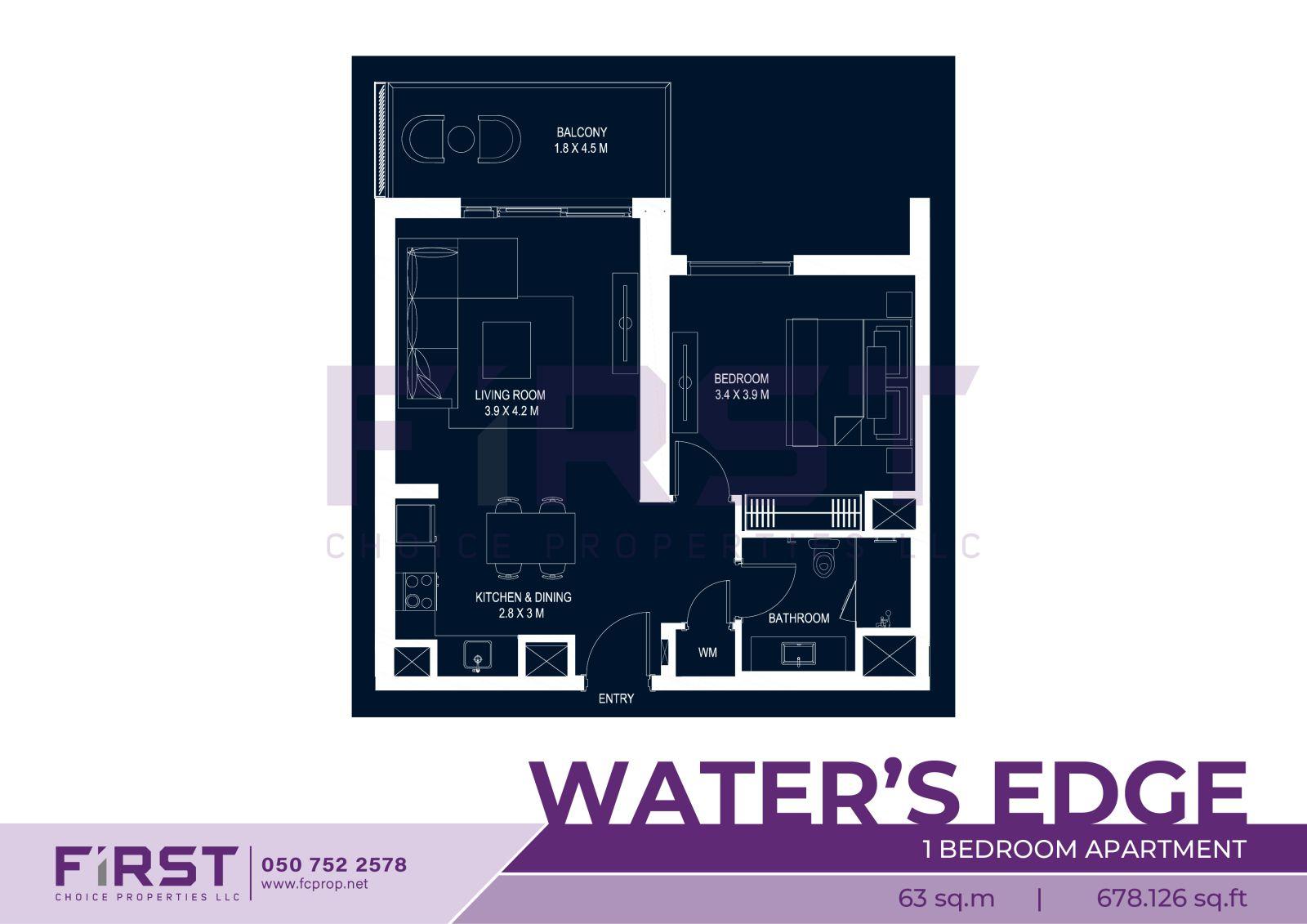 Floor Plan of 1 Bedroom Apartment in Water's Edge Yas Island Abu Dhabi UAE 63 sq.m 678.126 sq.ft.jpg