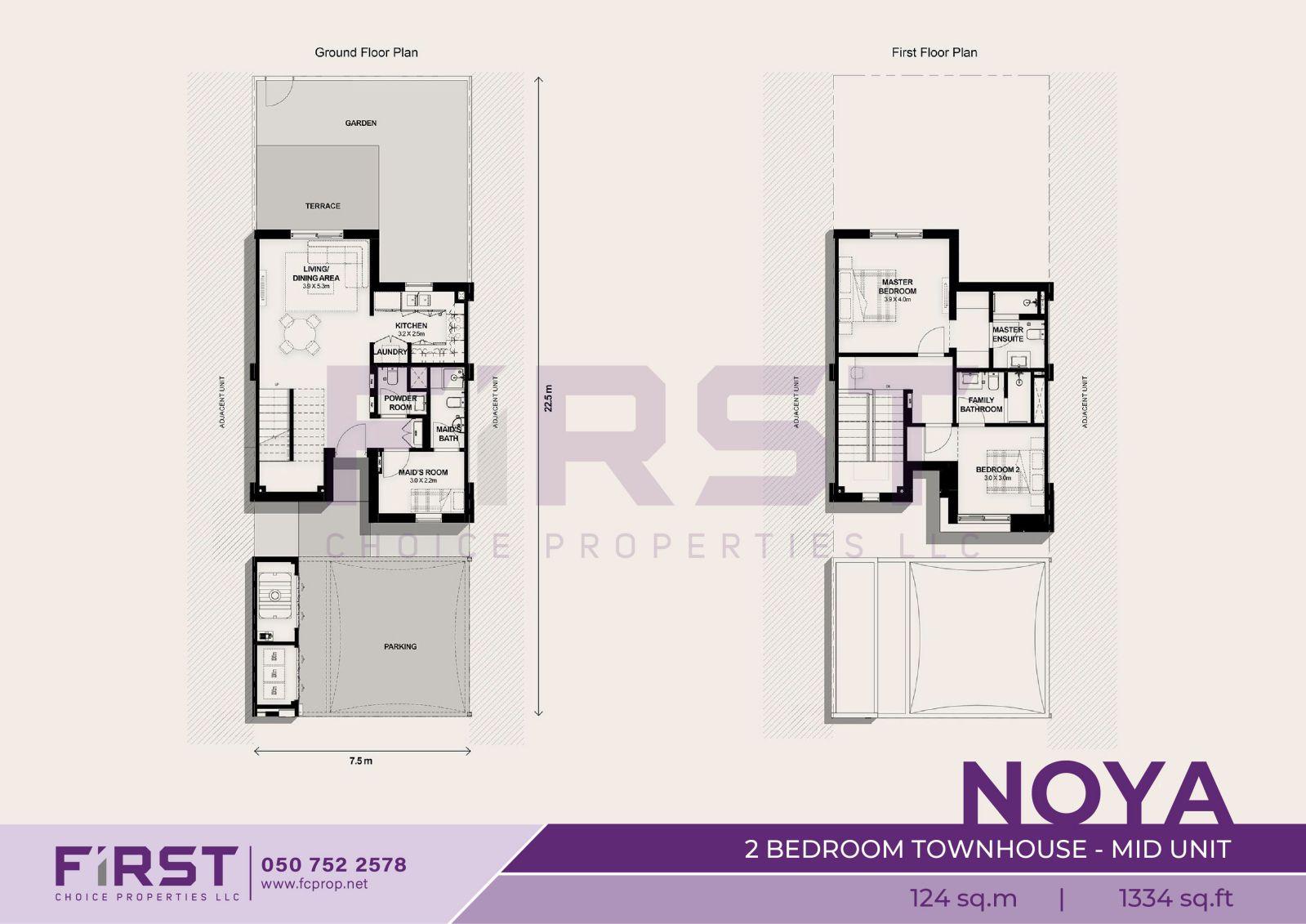 Floor Plan of 2 Bedroom Townhouse Mid Unit in Noya Yas Island Abu Dhabi UAE 124 sq.m 1334 sq.ft.jpg