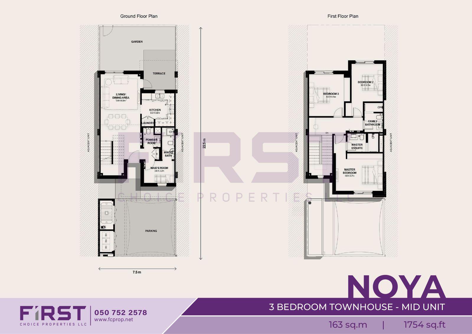 Floor Plan of 3 Bedroom Townhouse Mid Unit in Noya Yas Island Abu Dhabi UAE 163 sq.m 1754 sq.ft.jpg
